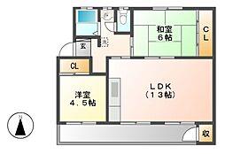 鍋屋上野住宅1号棟[2階]の間取り