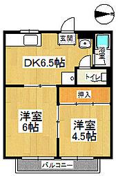 若竹荘[202号室]の間取り