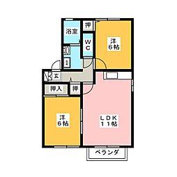 ブランドールアオキ 東棟[2階]の間取り