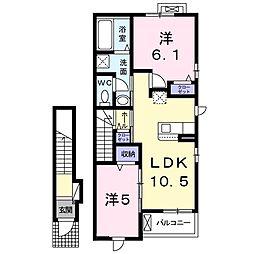ジュネス・サウス 2階2LDKの間取り