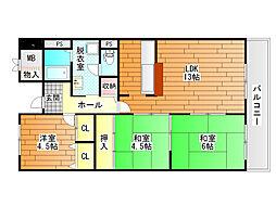 メゾンドール富田林[5階]の間取り