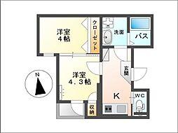 グランディール・Hatada 3階2Kの間取り