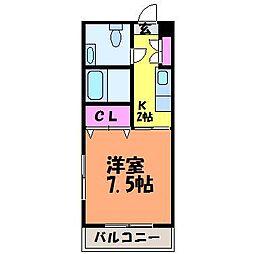 愛媛県松山市北立花町の賃貸マンションの間取り