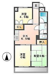 レスカール千代田[6階]の間取り