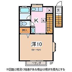 松本電気鉄道上高地線 北新・松本大学前駅 徒歩5分の賃貸アパート 2階1DKの間取り