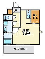 福岡市地下鉄七隈線 渡辺通駅 徒歩4分の賃貸マンション 3階1Kの間取り