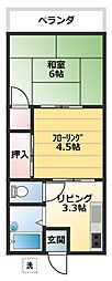 コーポ久里浜台[202号室]の間取り