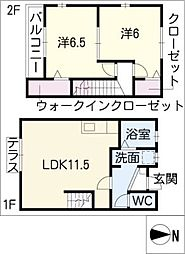 [タウンハウス] 愛知県津島市兼平町1丁目 の賃貸【/】の間取り