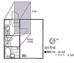 ファミリエール横須賀[201号室]の間取り