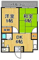 内野パークマンション[1階]の間取り