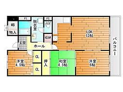 メゾンドール富田林[4階]の間取り