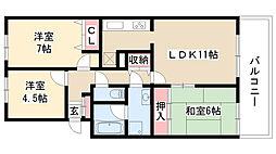 愛知県名古屋市昭和区荒田町2丁目の賃貸マンションの間取り