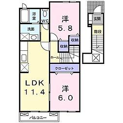 シルビアFj 2階2LDKの間取り