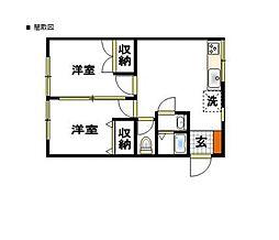 花嶋コーポB棟[1階]の間取り