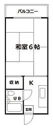 遠里小野728ハイツ[2階]の間取り