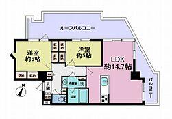 7階部分の角住戸広々ルーフバルコニー付き