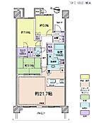 3LDK・専有面積87.06平米・バルコニー面積12.96平米・アルコープ面積9.31平米・トランクルーム面積0.26平米