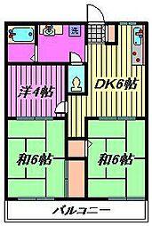蕨ハイツ[202号室]の間取り