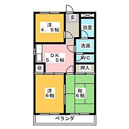 サンハイツ豊[3階]の間取り