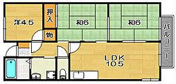 大阪府茨木市北春日丘2丁目の賃貸アパートの間取り