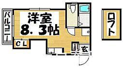 福岡県筑紫野市二日市中央1丁目の賃貸アパートの間取り
