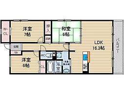 グランパセオ茨木[1階]の間取り