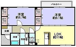 京都府八幡市八幡吉原の賃貸アパートの間取り