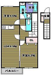 ディアプレステージ豊田[2階]の間取り
