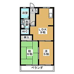 Uハイム加茂川B[2階]の間取り