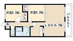 愛知県名古屋市瑞穂区松園町1丁目の賃貸マンションの間取り