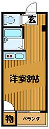 JR中央線 西国分寺駅 徒歩5分の賃貸マンション 3階ワンルームの間取り