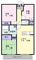 大阪府和泉市室堂町の賃貸アパートの間取り