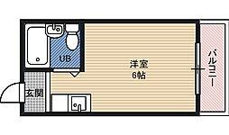 コレクション関目弐番館 4階ワンルームの間取り