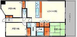 リバーガーデンシティアリス 8階3LDKの間取り
