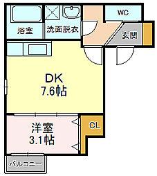 セントマルタ稲川 5階1DKの間取り