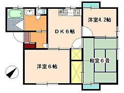 メゾンド・ソレイユI[1階]の間取り