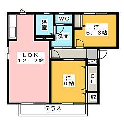 桃花ハイツII[1階]の間取り