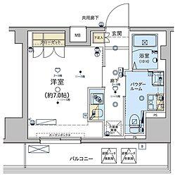 ジェノヴィア東日本橋駅前グリーンヴェール[1304号室]の間取り