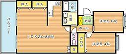 サンライズコーポラス青山 B棟(分譲賃貸)[3階]の間取り