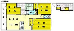 ディアコート三苫[2階]の間取り