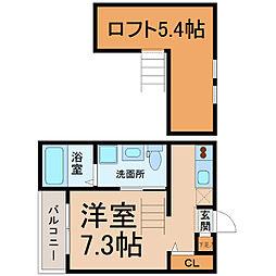 愛知県名古屋市南区中割町1丁目の賃貸アパートの間取り
