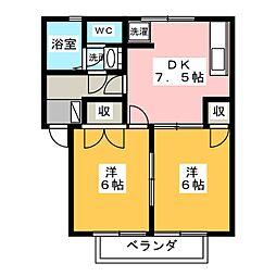コーポセンターストークA[2階]の間取り