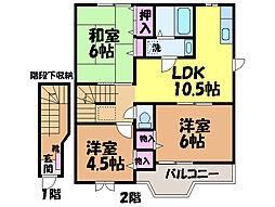 愛媛県松山市越智2丁目の賃貸アパートの間取り