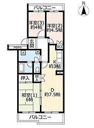 URパークシティ鴻巣駅前プラザ第二 1階3DKの間取り