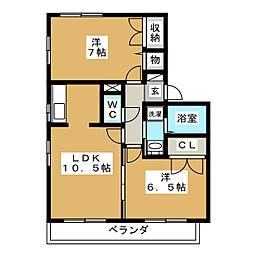 サンアベニュー B[2階]の間取り