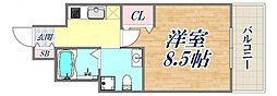 セレニテ西宮本町 6階1Kの間取り