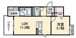 広島電鉄6系統 舟入南駅 徒歩12分の賃貸マンション 2階1LDKの間取り