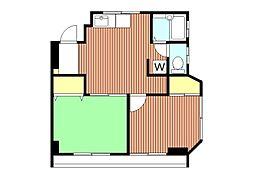 福島ビル 新宿一望 初台のファミリー物件[5階]の間取り