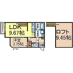 愛知県名古屋市西区鳥見町3丁目の賃貸アパートの間取り