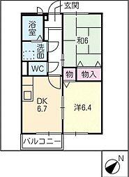 エステートKakeda A[1階]の間取り